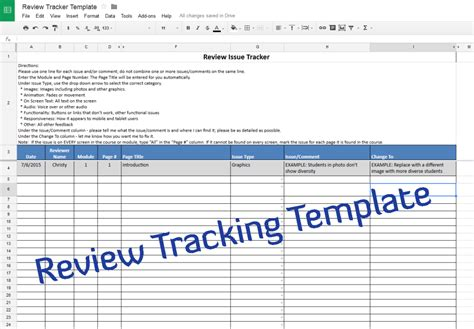 Course Review Tracking Template U2013 Experiencing E-Learning