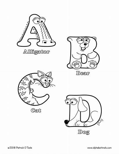 Coloring Pages Letter Printable Uppercase Letters Animals