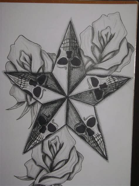 roses  skulls  nautical star tattoo design