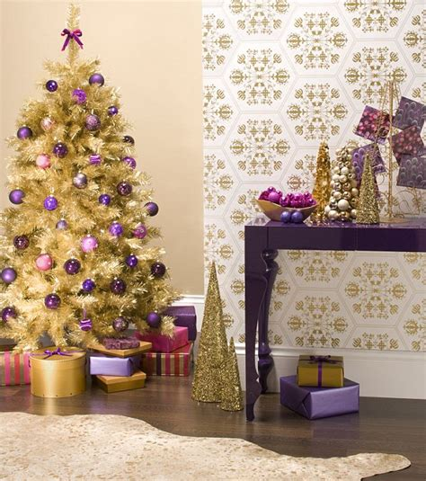 home christmas decoration theme design purple and gold