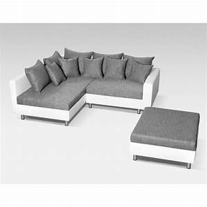 Couch Weiß Grau : ecksofa couch mit hocker in schwarz grau weiss polster garnitur ottomane links ebay ~ Watch28wear.com Haus und Dekorationen