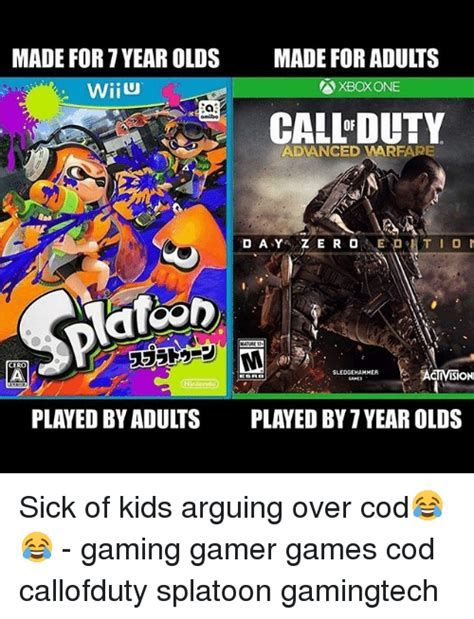 xbox 7 year old made for 7 year olds wiiu made for adults xbox one 汱 call duty omibo adanced varfare cero