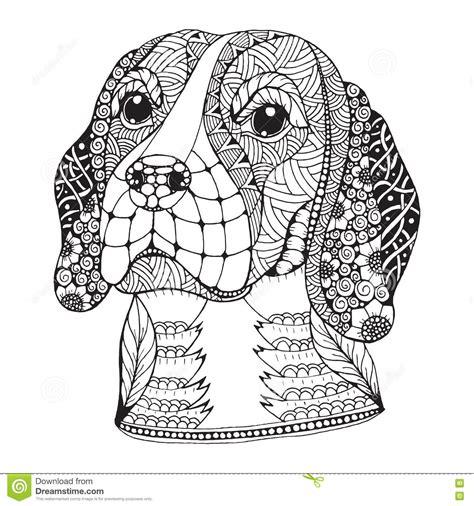 beagle dog head zentangle stylized vector illustration