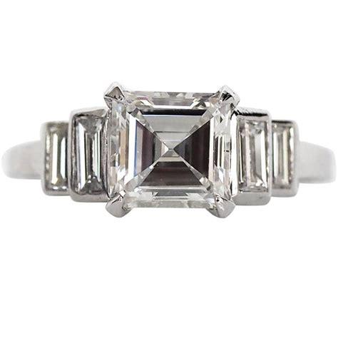 1940s deco 1 48 carat antique asscher cut platinum engagement ring at 1stdibs