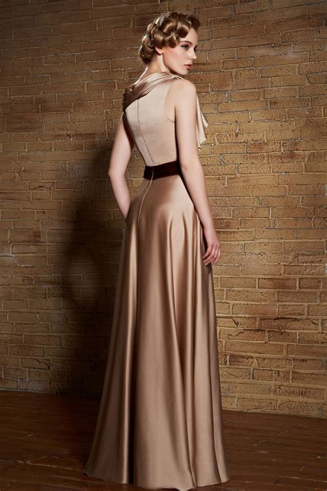 Yumi Floor L by Floor Length Chagne Formal Dress Evening Prom Gowns