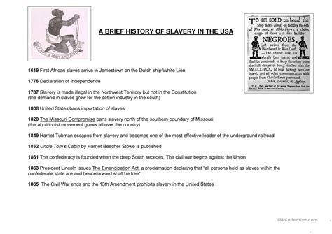 a brief history of slavery in the usa worksheet free esl