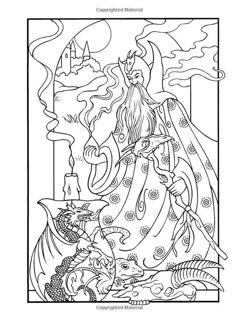 wondrous wizards dover coloring books coloring pages