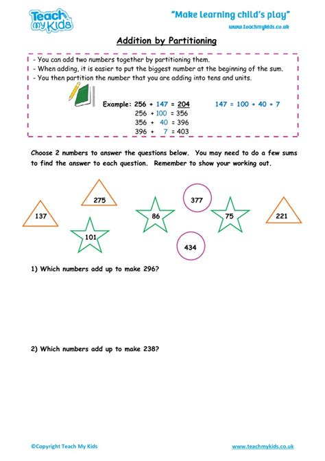 addition by partitioning numbers year 3 tmk education