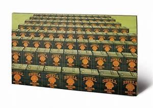 Bild Auf Holz : bild auf holz shell motor oil cans in line 1925 bei europosters ~ Frokenaadalensverden.com Haus und Dekorationen