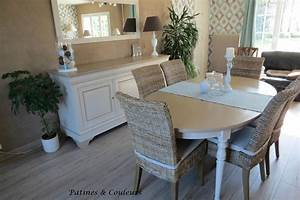 Salle a manger en merisier relookee patines couleurs for Meuble salle À manger avec chaise de salle a manger noir et blanc