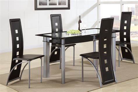 black dining room table set poundex f2212 f1274 glass top dining table with black