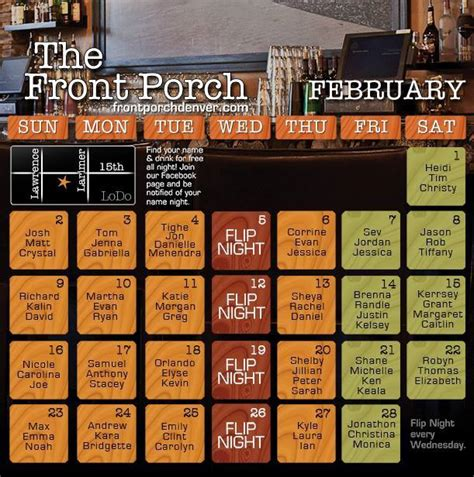 Front Porch Calendar by February 2014 Calendar Published Front Porch Denver