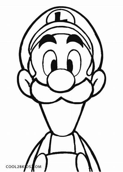 Luigi Coloring Mario Pages Mansion Face Printable