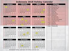 Indonesia 2018 2019 Holiday Calendar