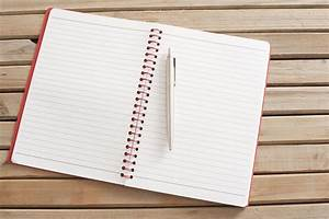 Image of Open Blank Notebook with Pen on Wooden Table ...