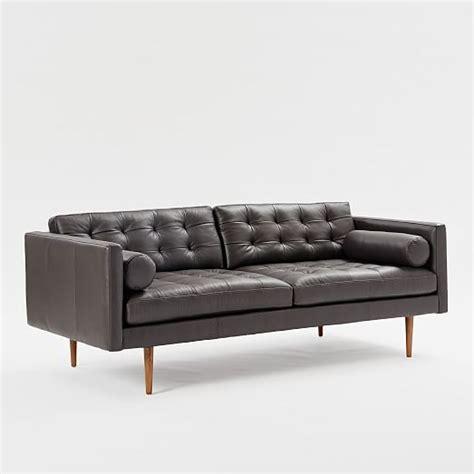mid century leather sofa monroe mid century leather sofa 80 quot west elm