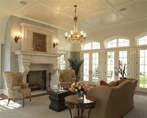Very nice, formal living room with wing chairs and camel ...