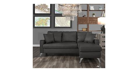 Divano Roma Furniture Bonded Leather Sectional Sofa