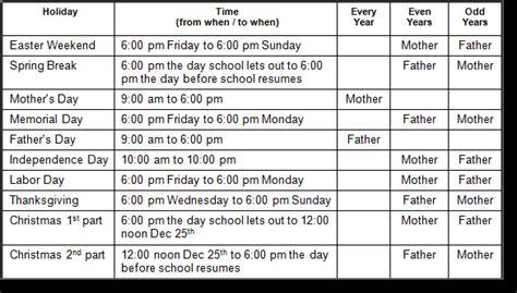 child visitation calendar template child custody visitation schedule template templates resume exles xvam5bpalx