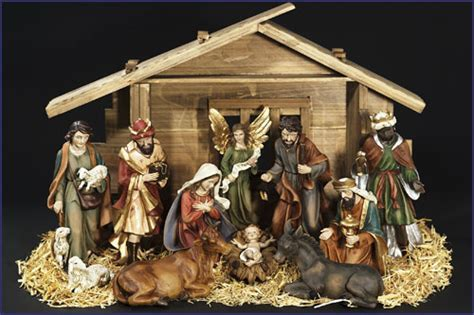 "12"" 11pc RESIN NATIVITY SET WITH STABLE"