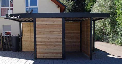 geraetehaus holz metall anthrazit flachdach modern stahlzart
