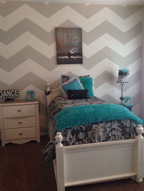 grey and a white chevron with tiffany blue accents