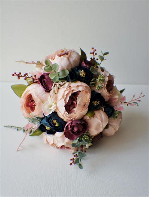 peony bridal bouquet silk wedding flowers blush wedding
