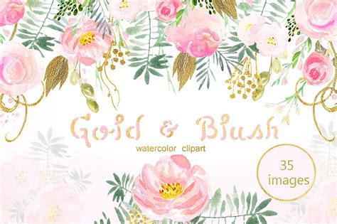 christmas twilight market flyer template free download3 gold blush watercolor flowers illustrations creative