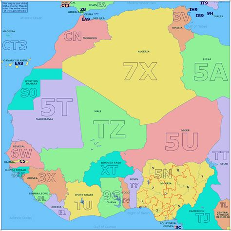 Amateur Radio Prefix Map Of West Africa
