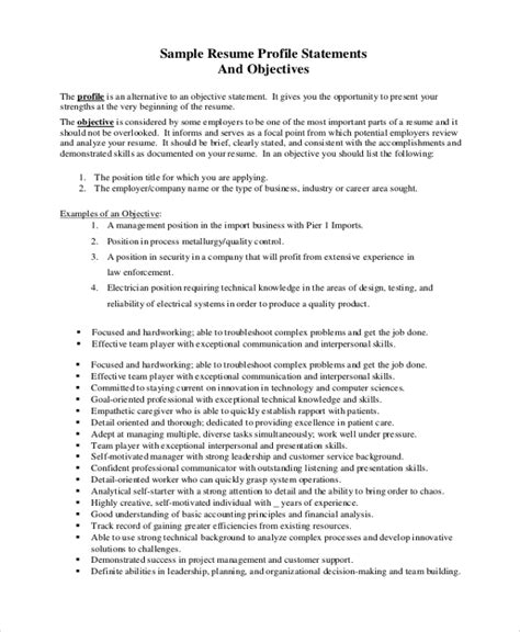 Objective Statement Resume by Sle Objective Statement 7 Documents In Pdf Word