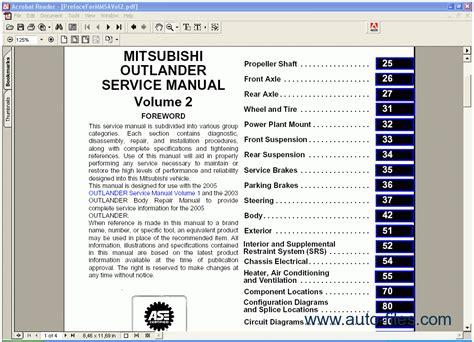 car repair manuals download 2007 mitsubishi outlander engine control mitsubishi outlander 2005 repair manuals download wiring diagram electronic parts catalog