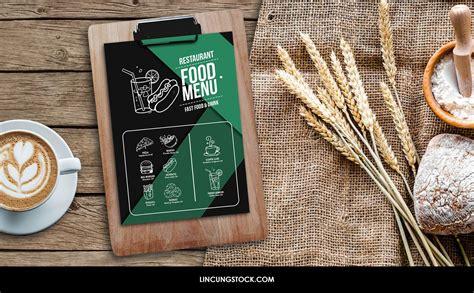 clipboard food menu restaurant mock  psd