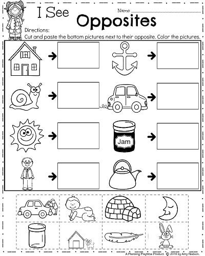 april kindergarten worksheets opposites antonyms kindergarten worksheets kindergarten