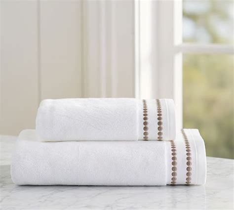 Pearl Embroidered Organic Bath Towel   Simply Taupe