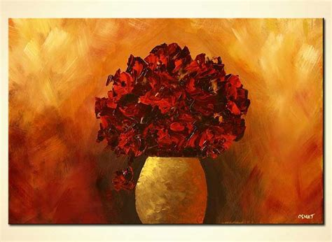painting red flowers  vase floral red decor