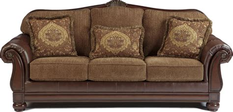 two tone traditional sofa with wood trim accents living