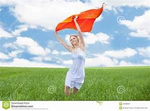 Woman Holding Scarf Running In Field Stock Image - Image ...
