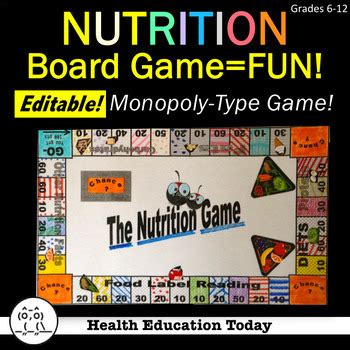 health lesson nutrition facts board game fun educational