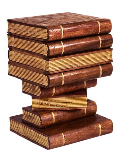 bout de canapé en bois bout de canapé original en bois trompe l 39 oeil livres