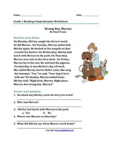 reading comprehension  grade   questions