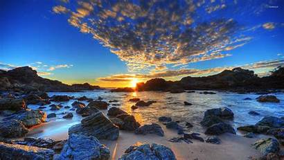 Sea Sunset Golden Above Wallpapers Nature Beaches