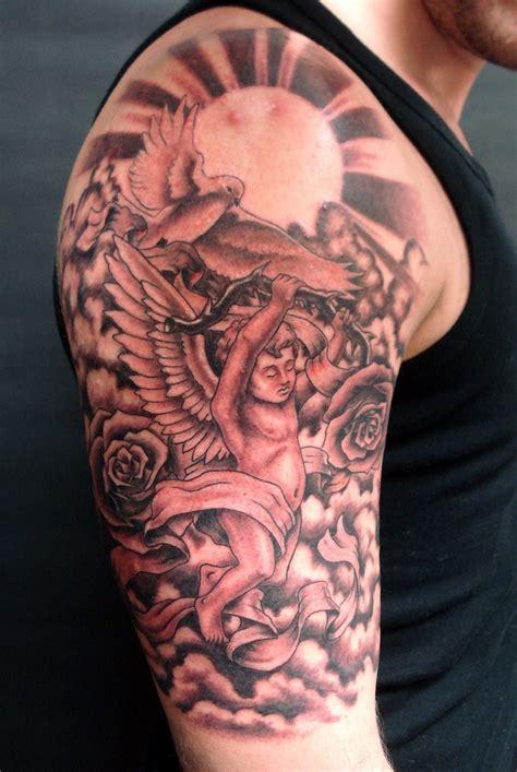 angels roses  sun sleeve tattoos pinterest sun