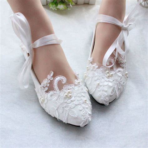 Wedding Flats by Flats Pearls Lace Princess Wedding White