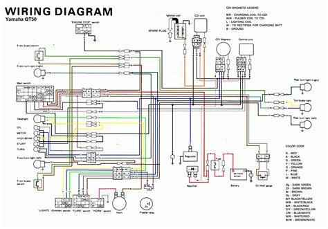 Yamaha Dt3 250 Wiring Diagram by Yamaha Qt50 Color Coded Schematic Moped Army
