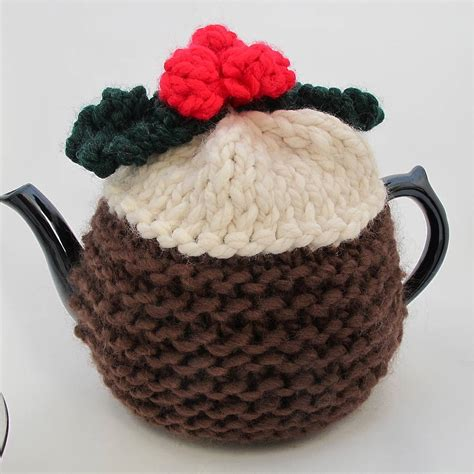 christmas knitted cozy pudding knitted tea cosy by edamay notonthehighstreet