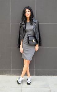 women39s black leather biker jacket grey bodycon dress With robe sport chic