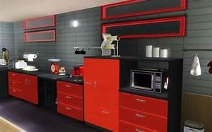 cuisine noir gris rouge With deco cuisine gris et noir