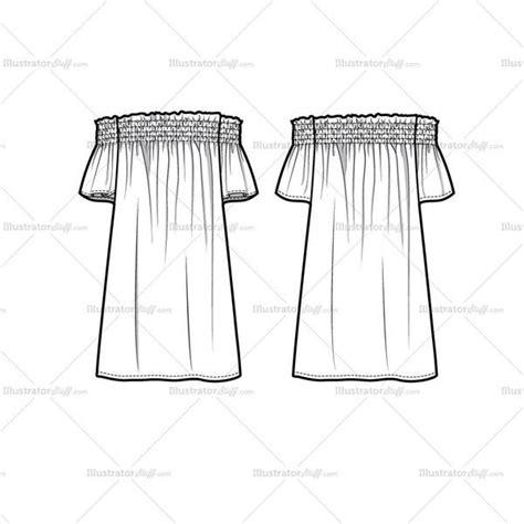 shoulder smocked flutter dress illustration
