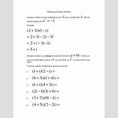 Multiplying Complex Numbers 10th  11th Grade Worksheet  Lesson Planet