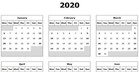 yearly calendar mon start excel template